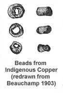 beads of native copper